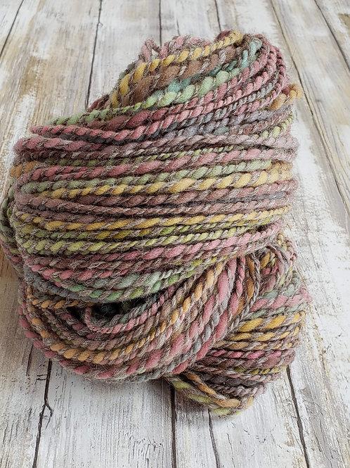 #2 Grey with pastels-50/50 Alpaca/Wool Hand spun Yarn