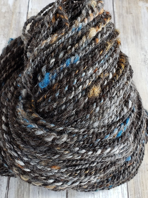 #1 Artistic Grey/Bay black Handspun Alpaca/Wool Yarn