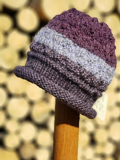 """Shades of Purple"" Alpaca/Acrylic Knitted Hat"