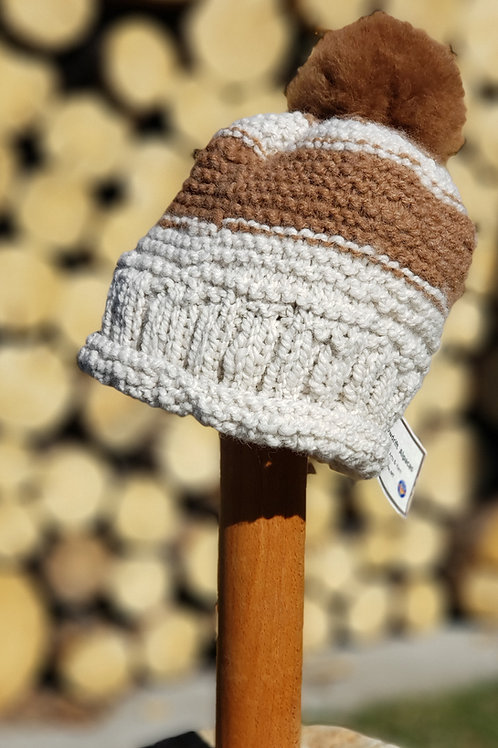 100% White and Fawn Alpaca Knitted Hat with pom pom