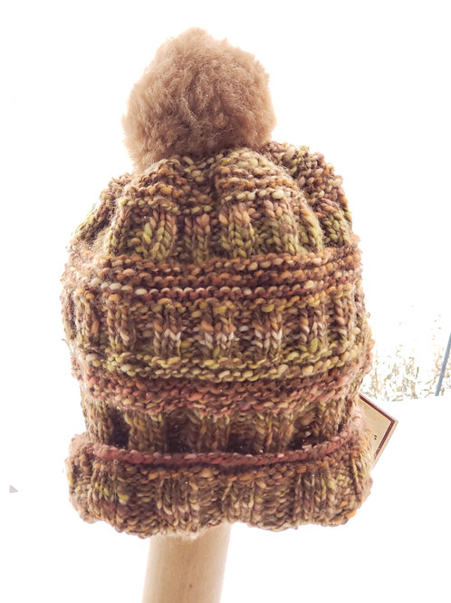 Handspun Alpaca/Wool Knitted Hat with pom pom