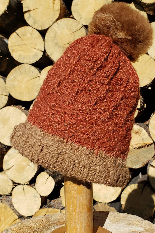 100% Fawn Alpaca Knitted Hat with pom pom