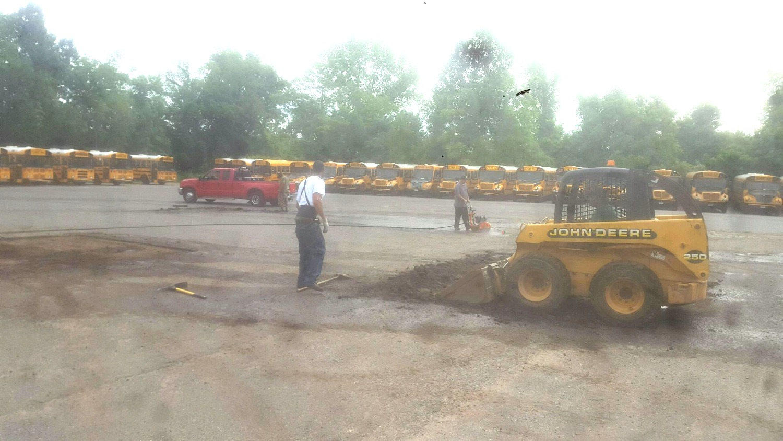 school bus parking lot paving