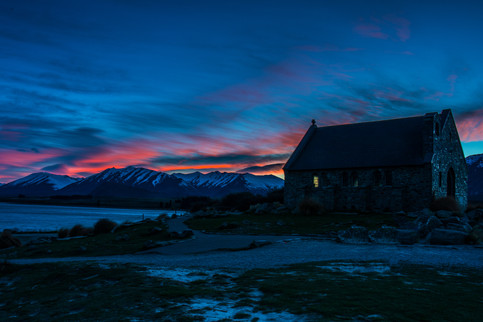 Sunrise over the Church of the Good Shepard at Lake Tekapo