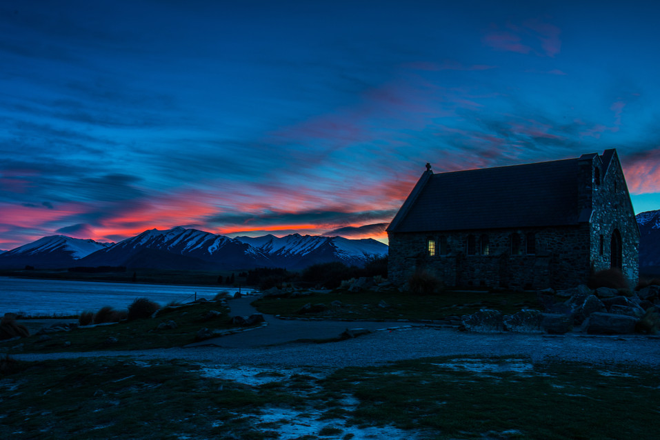 Sunrise over the Church of the Good Shepard at Lake Tekapo