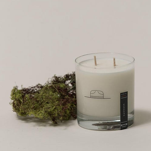 Oakmoss Scented Candle/Whiskey Glass