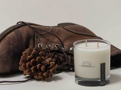 Leather + Pine Scented Candle/Whiskey Glass