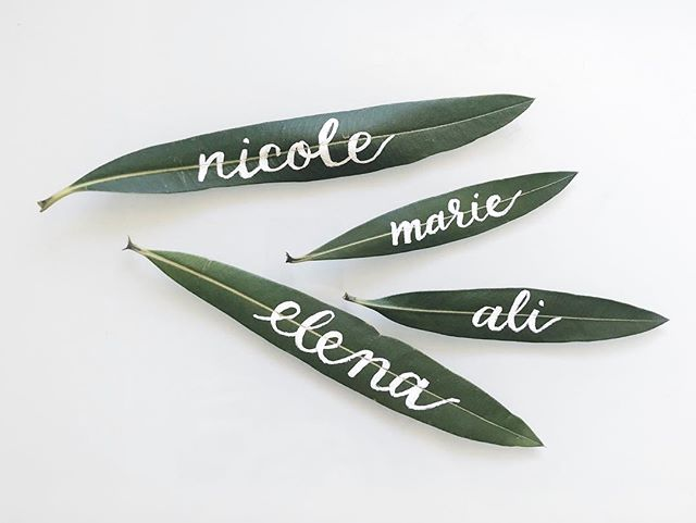 Leaf Calligraphy Placecards