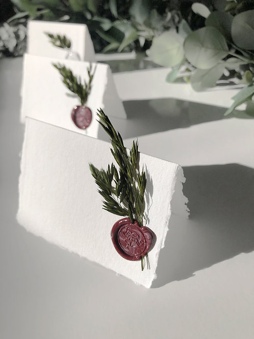 Place Cards with Wax Seal + Greenery 5-Pack