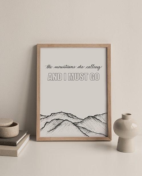 Mountain Calligraphy Print - John Muir