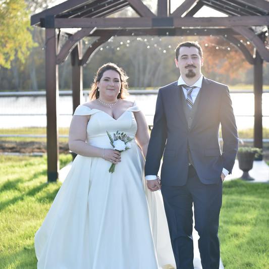Bride & groom at the gazebo