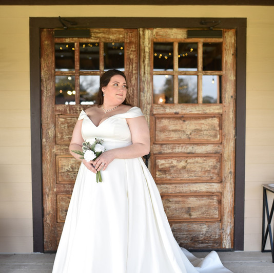 The Bride by one of the double doors