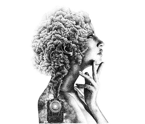 Double-exposure Stippling drawing