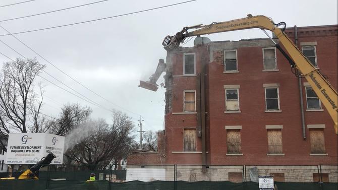 Demolition of main building underway