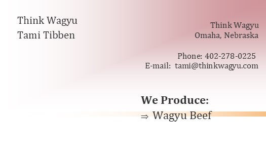 Think Wagyu ad for P2P LOGO ADDRESS ZIP.