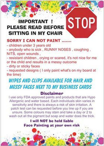 Face Painting Disclaimer
