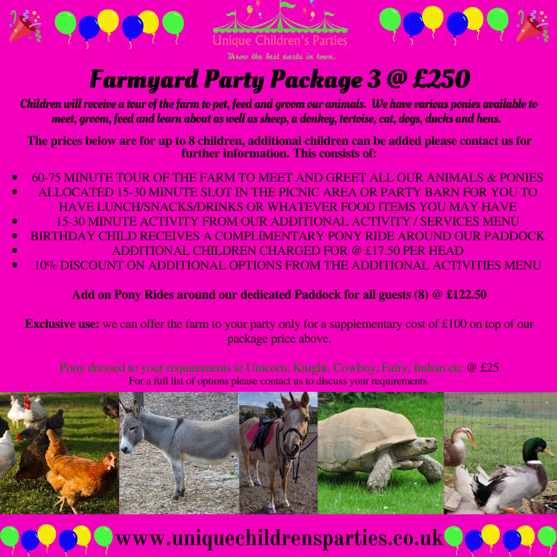 Farmyard party package 3