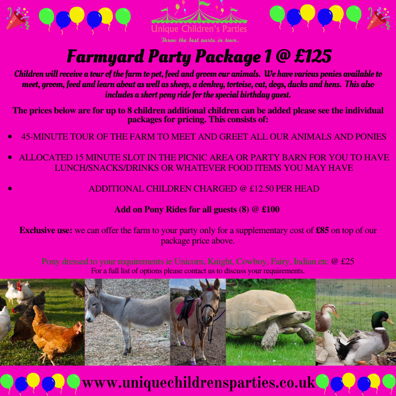 Farmyard party package 1