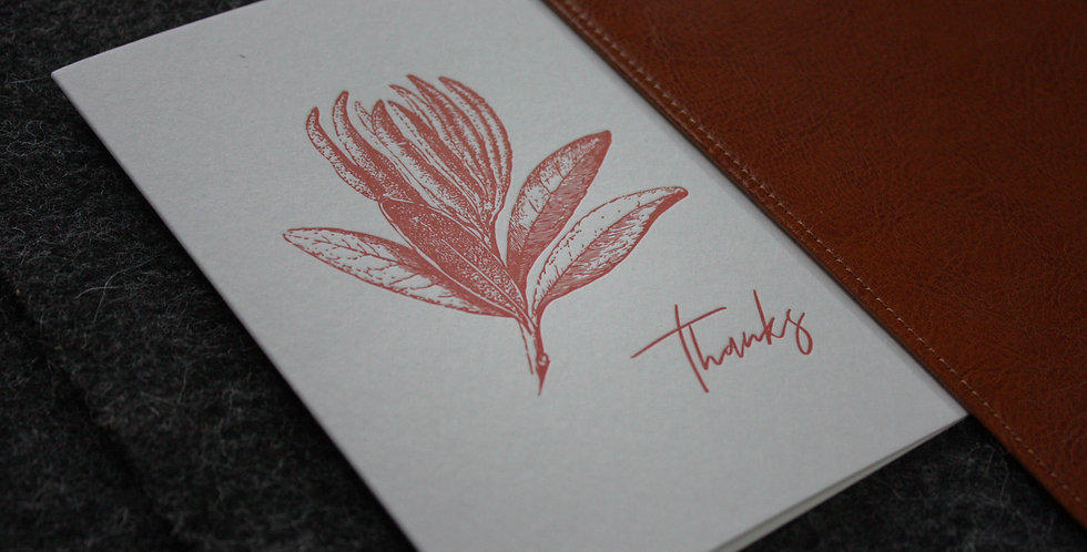 Letter Pressed Greeting Card - Red