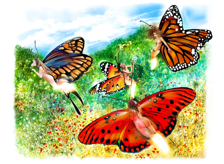Les fées-lucioles butinent les fleurs