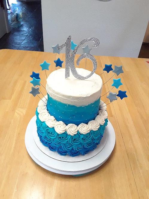 Blue Beauty Sweet 16th Cake