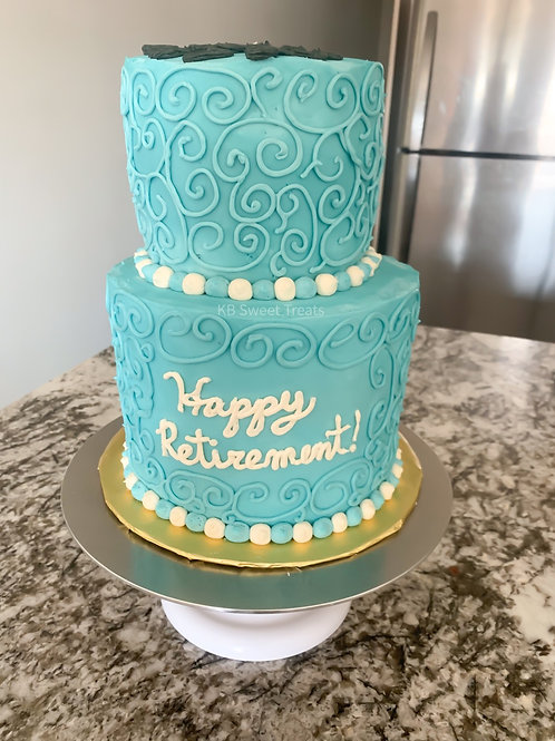 Two Tier Retirement Cake