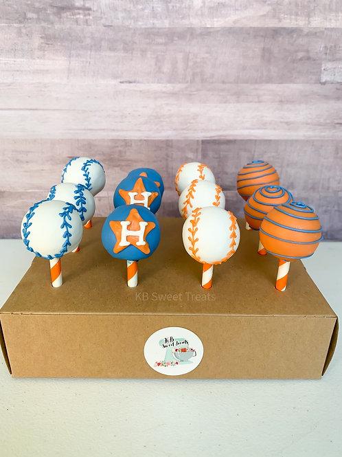 Astros Baseball Cake Pops