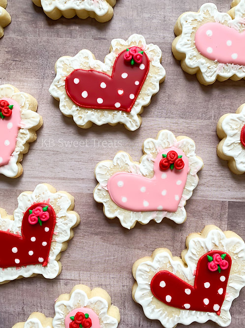 Lace Rose Heart Cookie