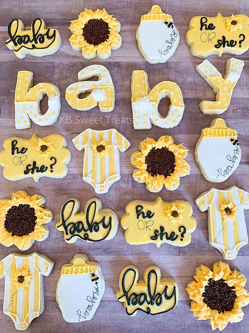 Baby Bee Gender Reveal Cookies