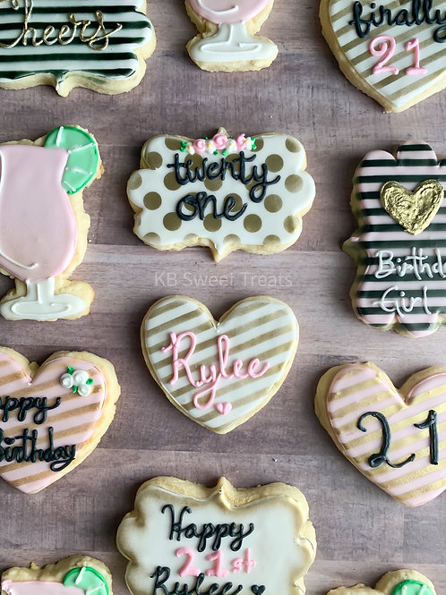 Girly 21st Cookies