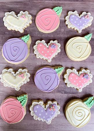 Pastel Heart & Rose Cookies