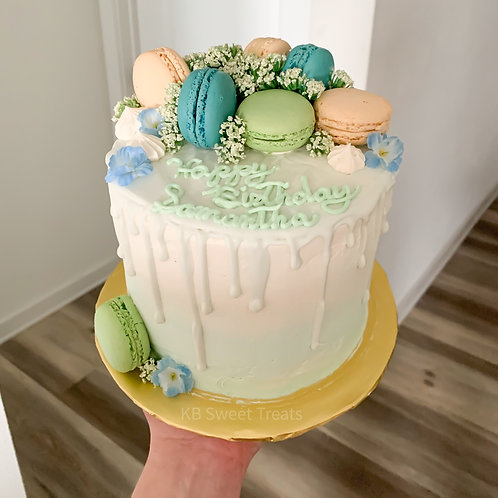 Mint & Blue Floral Cake