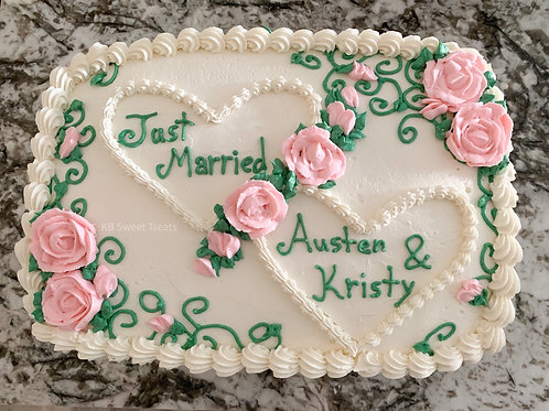 Just Married Sheet Cake