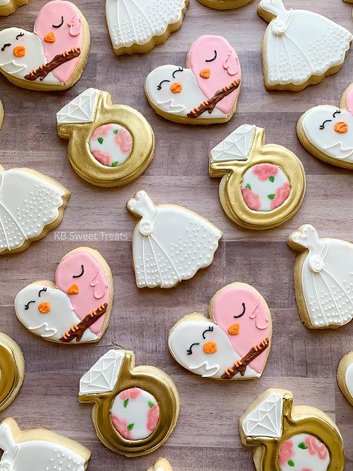 Floral Love Bird Wedding Cookies