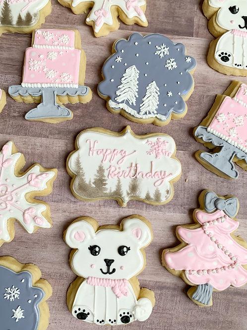 Girly Winter Birthday Cookies