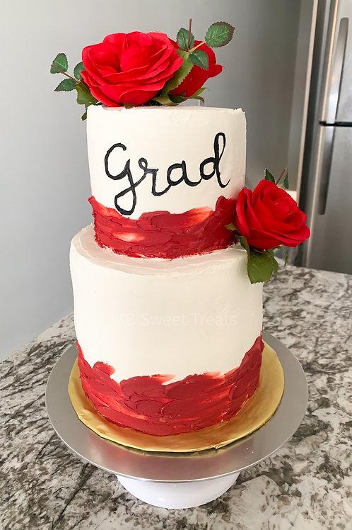 Two Tier Rose Grad Cake
