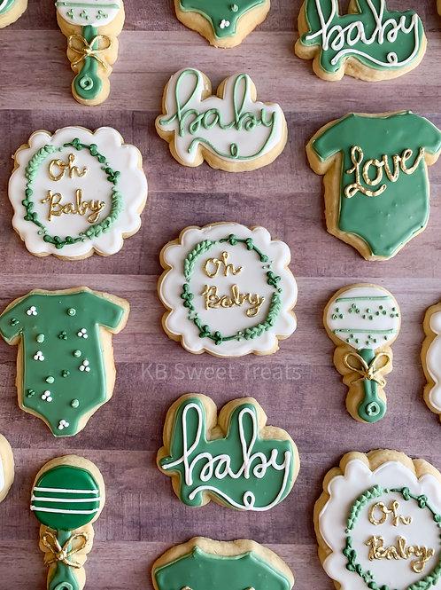Sage & Gold Baby Shower Cookies