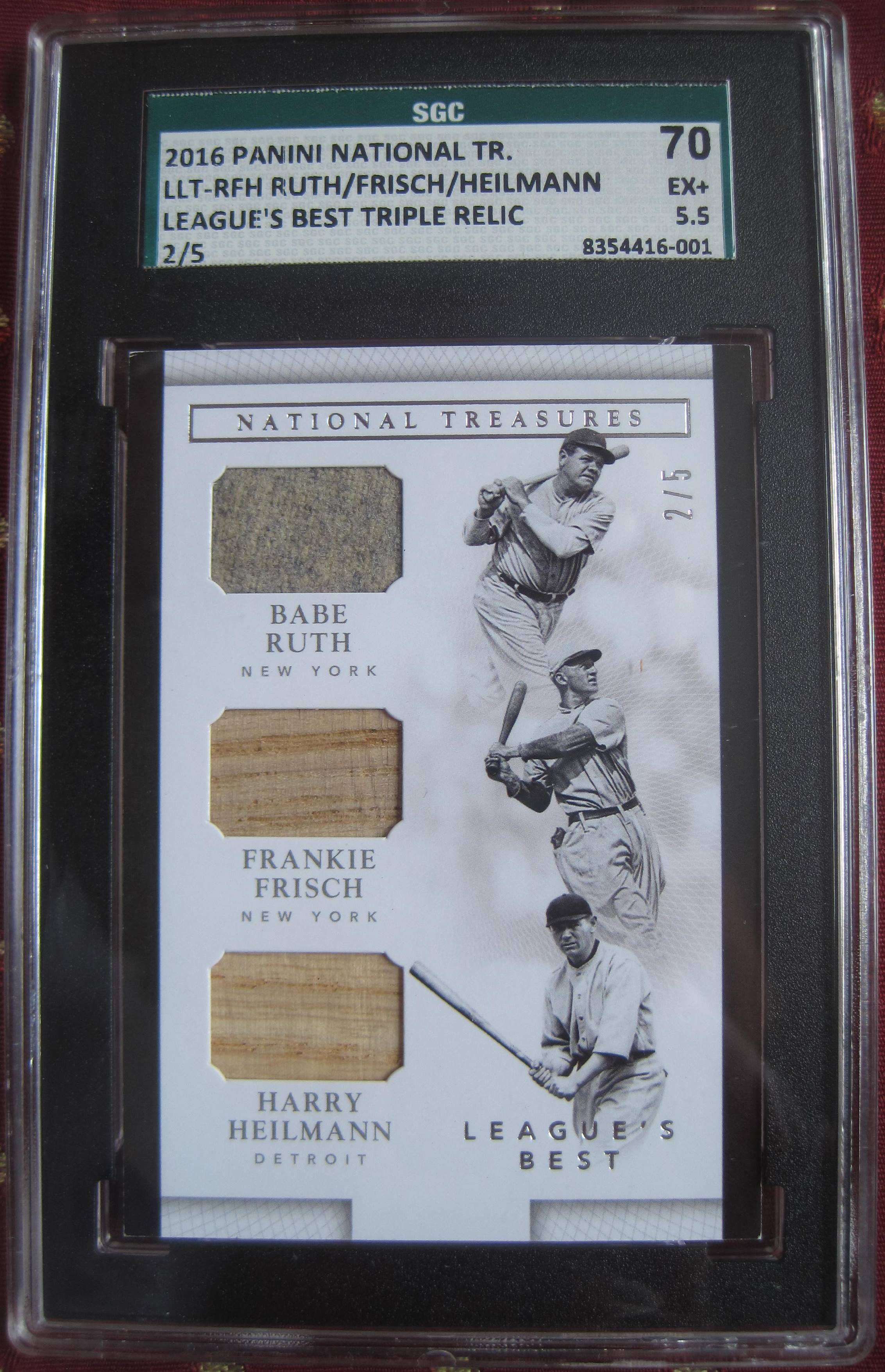pretty nice cb687 8c145 BABE RUTH 2/5 GAME USED JERSEY 2016 PANINI NATIONAL TREASURES FRISCH  HEILMANN!! | qualitycards