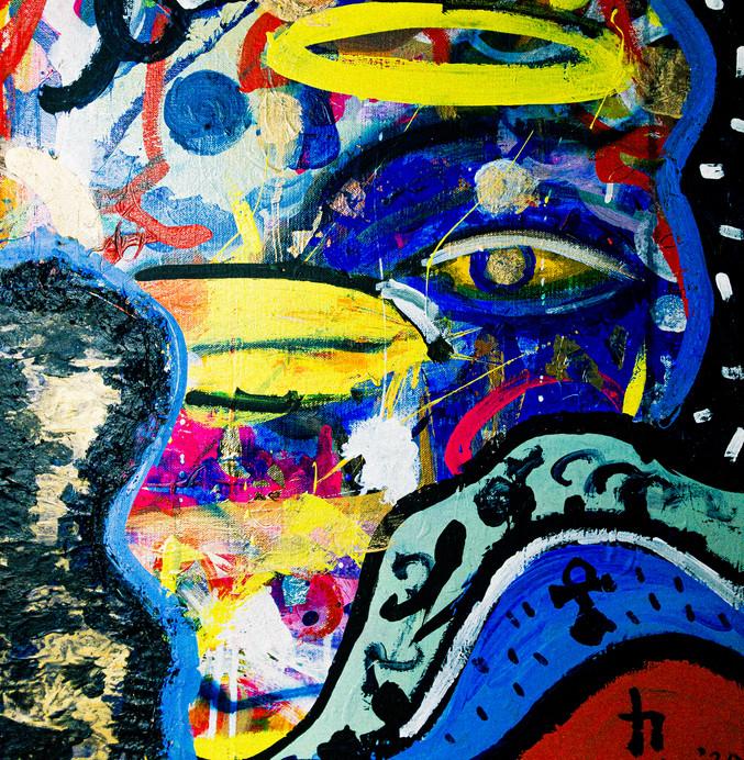 Self Portrait: Blue Eagle And Blue Sun