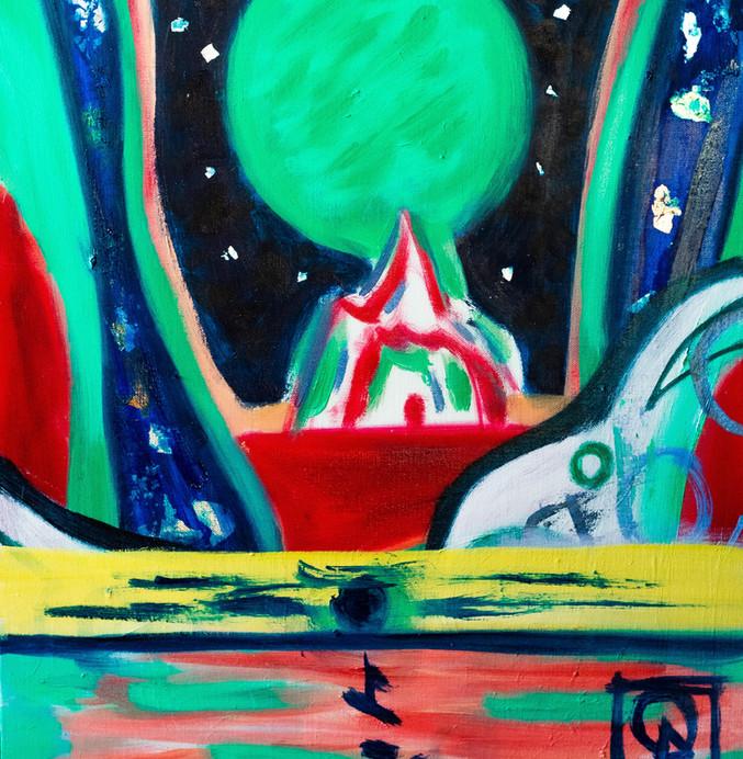 Jade Sun Apearing In The Night Sky Of The Kingdom