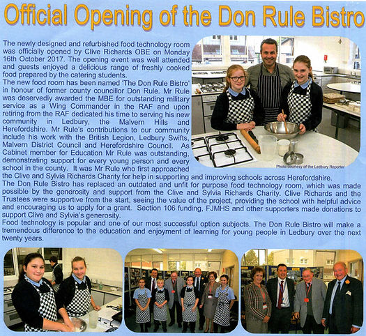 Don Rule Bistro 2017 John Masefield School Ledbury Herefordshire Clive Sylvia Richards Charity