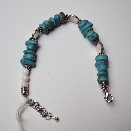 Turquoise and White Stone Bracelet