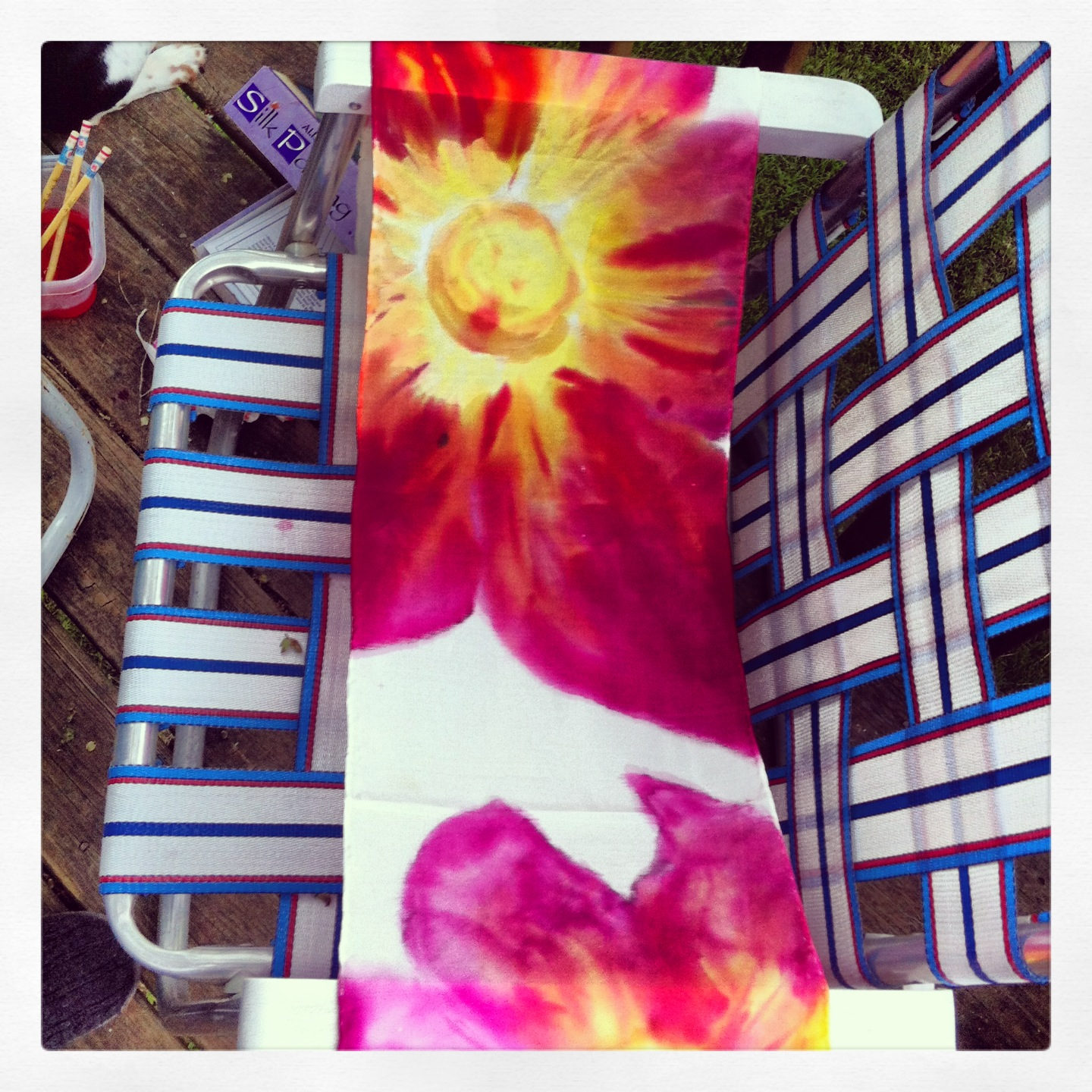 Silk scarf and silk paint