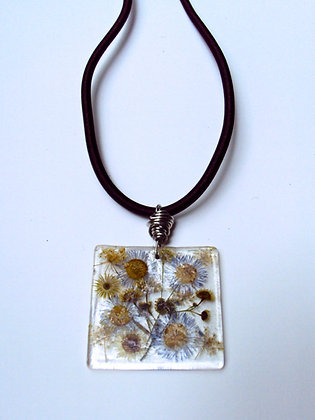Square Pressed Flowers Necklace