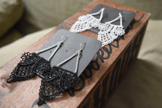 Lace & Chain Owl Earrings