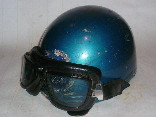 Casque (bol) bleu pailleté + lunettes moto