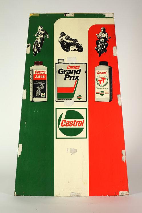 9 - Tôle peinte CASTROL avec dessins de motos et bidons d'huiles
