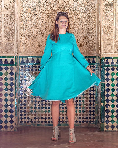 Green Blue dress with tiled background