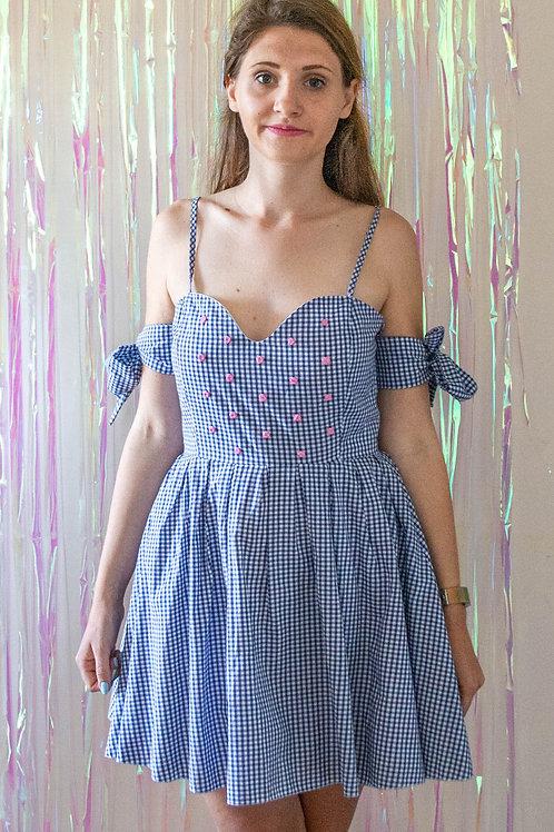 Gingham Bow Sleeve Dress