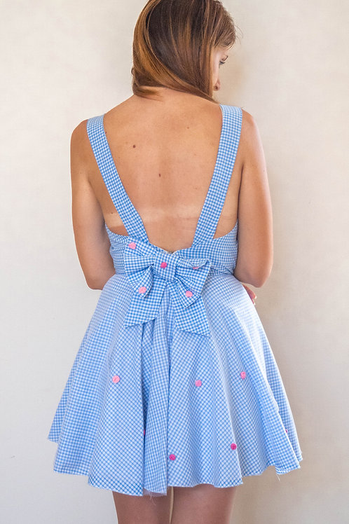 Embroidered Rose Bow Dress